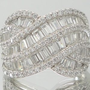 Sterling Epiphany Baguette & Round Diamonique Ring